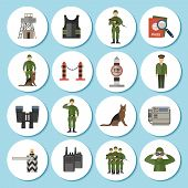 image of camouflage  - Border Guard icon sticker flat set with soldiers in military uniform camouflage isolated vector illustration - JPG