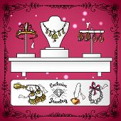 picture of exclusive  - Jewelry shop display with exclusive sketch luxury wedding accessories vector illustration - JPG