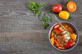 stock photo of hungarian  - Traditional hungarian dish bograch goulash  - JPG
