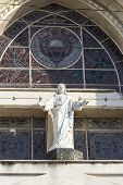 image of sacred heart jesus  - Architectural detail of the facade of the Roman Sacred Heart of Jesus - JPG