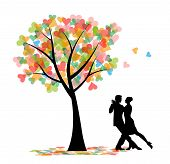 foto of tango  - vector Tango dancers silhouette and tree with hearts - JPG