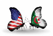 pic of algeria  - Two butterflies with flags on wings as symbol of relations USA and Algeria - JPG