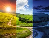 stock photo of cross hill  - composite day and night landscape - JPG