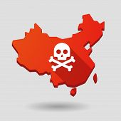 picture of death penalty  - Illustration of a China map icon with a skull - JPG
