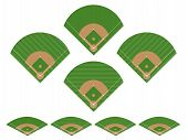 stock photo of hitter  - Illustration set of different baseball fields 2 - JPG