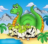 stock photo of dinosaur-eggs  - Dinosaur mom with little babies  - JPG