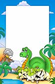 picture of dinosaur-eggs  - Frame with little dinosaurs and volcano  - JPG