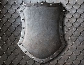 pic of shield  - old medieval coat of arms shield over scales armour background - JPG