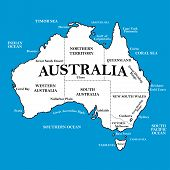 pic of darwin  - Map of Australia with locations on a blue background  - JPG