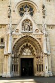 image of neo  - Portal of the neo gothic Zagreb catholic cathedral - JPG