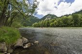 picture of pieniny  - Dunajec River in Pieniny Mountains in distance Trzy korony and Facimiech - JPG