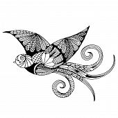 picture of swallow  - swallow with embroidery decoration on simple white background - JPG