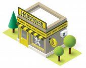 stock photo of isometric  - Vector isometric hardware shop building icon - JPG