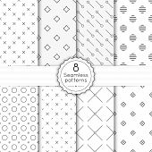 picture of diagonal lines  - Vector set seamless pattern with vintage old banner and ribbon - JPG