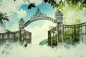 pic of heavenly  - Illustration of the heaven gate in a beautiful peaceful scene - JPG