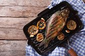 stock photo of grill  - Grilled carp with lemon in a grill pan horizontal view from above - JPG
