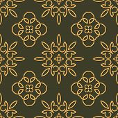 pic of gamma  - Rich decorated calligraphic outlined stroke seamless pattern in dark and gold gamma - JPG
