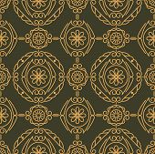 image of gamma  - Rich decorated calligraphic outlined stroke seamless pattern in dark and gold gamma - JPG