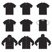 pic of in front  - Vector illustration of black shirts template in many variation front and back design isolated on white - JPG