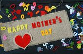 picture of mother-in-love  - Happy mothers day with i love mom message idea from colorful letter on wooden background woman hand cutting character to make gift for mother on happy day show feeling with mother love family - JPG