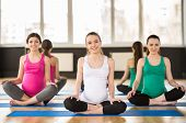 image of pregnancy exercises  - Group of young pregnant women are doing relaxation exercise on exercise mat - JPG