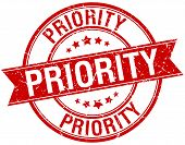 stock photo of priorities  - priority grunge retro red isolated ribbon stamp - JPG