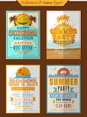 image of club party  - Collection of Summer Party Flyers or Invitations decorated with view of beach and palm trees - JPG
