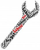 pic of labourers  - Word cloud illustration related to Labour Day celebrated on May 1st - JPG