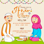 stock photo of ramazan mubarak card  - Holy month of Muslim community Ramadan Kareem celebration invitation card with Islamic couple enjoying Iftar Party - JPG