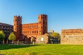 image of turin  - Porta Palatina a Roman gate in Turin  - JPG