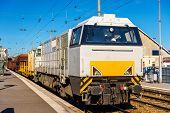 stock photo of locomotive  - Diesel locomotive hauling a freight train at Besancon station  - JPG