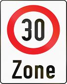 foto of traffic rules  - Austrian traffic sign indicating a zone with reduced traffic and a speed limit of 30 kilometers per hour - JPG