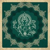 image of indian elephant  - Indian god elephant Ganesha vintage card - JPG
