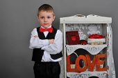 picture of bow tie hair  - boy in vest red bow tie - JPG