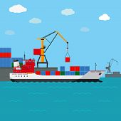 stock photo of ship  - Cargo ship - JPG