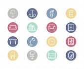 stock photo of chandelier  - Home furniture flat icons - JPG