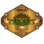 image of hop-plant  - banner or label with grain stock hop element and ribbon - JPG