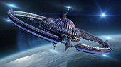 picture of planet earth  - Interstellar spaceship with dome core and gravitation wheel - JPG