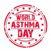 foto of asthma  - illustration of a grungy stamp for World Asthma Day - JPG