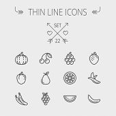 stock photo of pea  - Food and drink thin line icon set for web and mobile - JPG