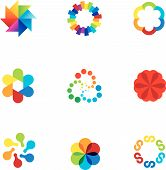 stock photo of partnership  - Abstract social partnership community company bond colorful app logo icons - JPG