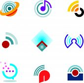 pic of ethereal  - Ether world connectivity signal location positioning waves transmitting logo icons - JPG