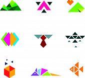 image of armadillo  - Business strategy geometric paper form mosaic logo icon set progress - JPG
