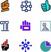 picture of foundation  - Future progress success technology foundation fist symbol logo icon set - JPG