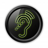 image of hearing  - Icon Button Pictogram with Hearing Impairrment symbol - JPG