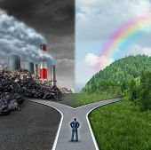 image of horizon  - Climate choice concept as a person standing at a cross road junction between an unhealthy scene with grey polluted dirty and contaminated air contrasted with a green healthy horizon of plants and clean air as a metaphor for global ecology - JPG