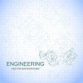 pic of mechanical drawing  - Poster cover banner background of engineering drawings of parts - JPG