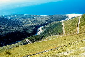 pic of albania  - Road serpentine in the mountains near the sea in Albania - JPG