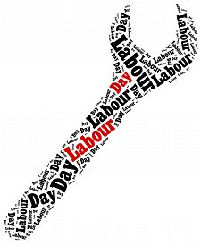 stock photo of labourer  - Word cloud illustration related to Labour Day celebrated on May 1st - JPG