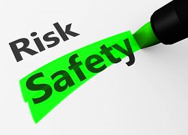 picture of risk  - Safety and security concept with a 3d rendering of risk text and safety word highlighted with a green marker - JPG